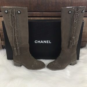 Tall Chanel Suede Boots